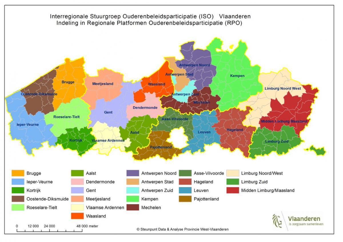 De afbeelding geeft een overzicht van de indeling per interregionale stuurgroep ouderenbeleidsparticipatie in Vlaanderen en de indeling in regionale platformen ouderenbeleidsparticipatie. De eerste interregionale stuurgroep omvat de regionale platformen Brugge, Ieper-Veurne, Kortrijk, Oostende-Diksmuide en Roeselare-Tielt. De tweede interregionale stuurgroep omvat de regionale platformen Aalst, Dendermonde, Gent, Meetjesland, Vlaamse Ardennen en Waasland. De derde interregionale stuurgroep omvat de regionale platformen Antwerpen Noord, Antwerpen Stad, Antwerpen Zuid, Kempen en Mechelen. De vierde interregionale stuurgroep omvat de regionale platformen Asse-Vilvoorde, Hageland, Leuven en Pajottenland. De vijfde interregionale stuurgroep omvat de regionale platformen Limburg Noord/West, Limburg Zuid en Midden Limburg/Waasland.